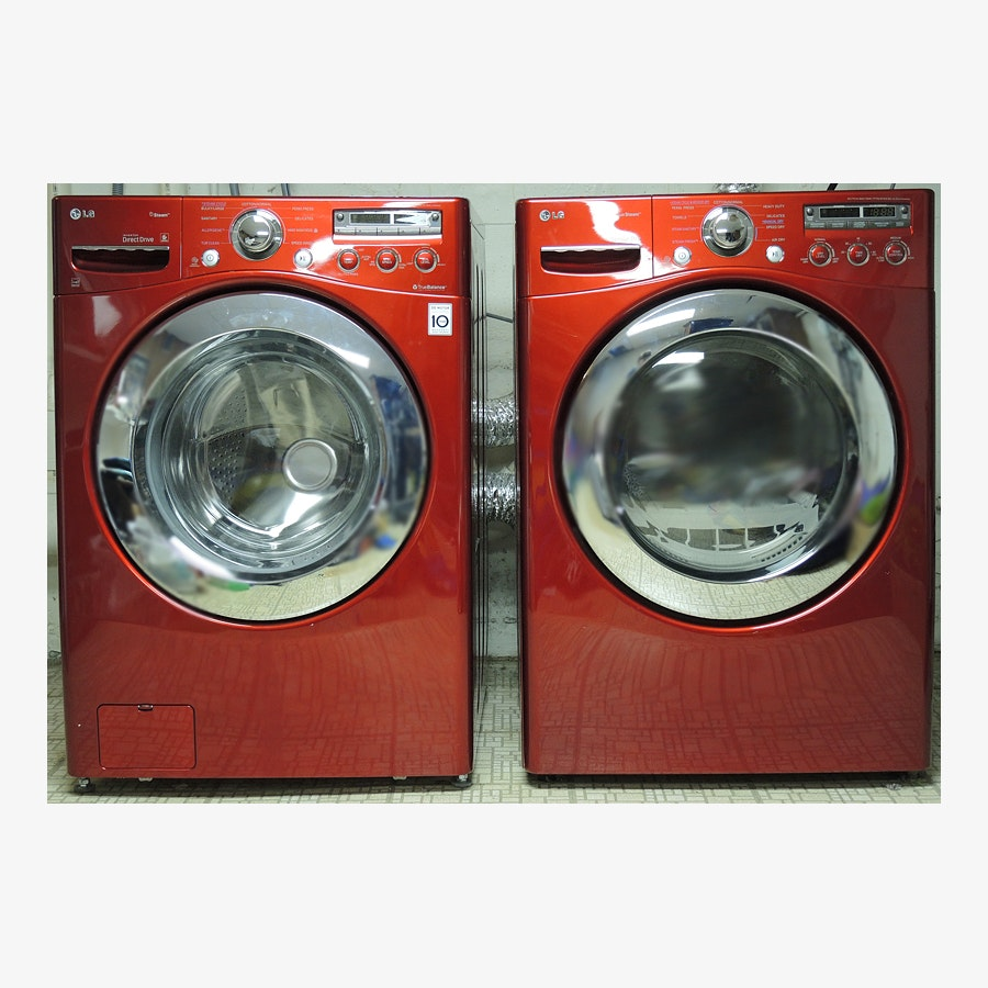 lg cherry red front loading he washer and dryer set