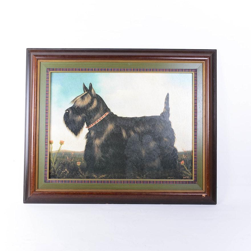 Terrier Oil Painting Vintage