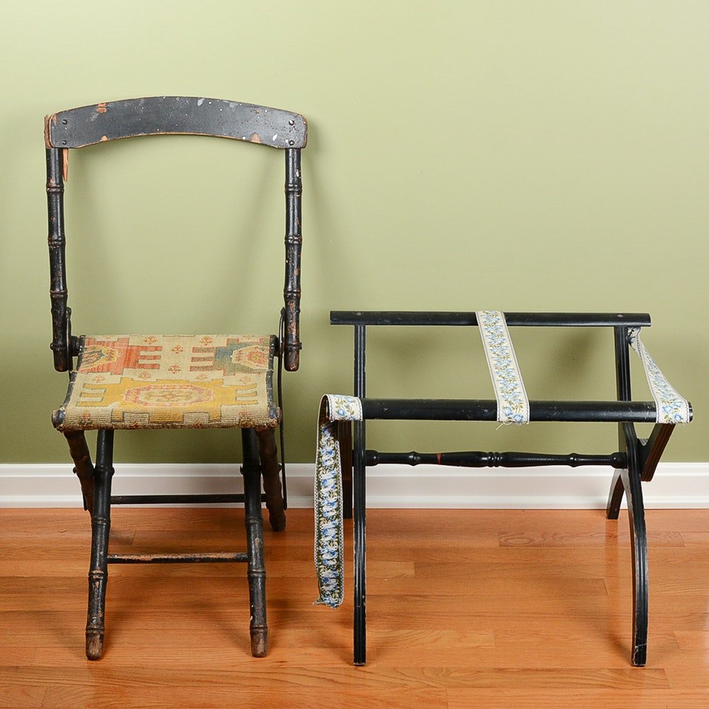Vintage Folding Chair and Luggage Rack