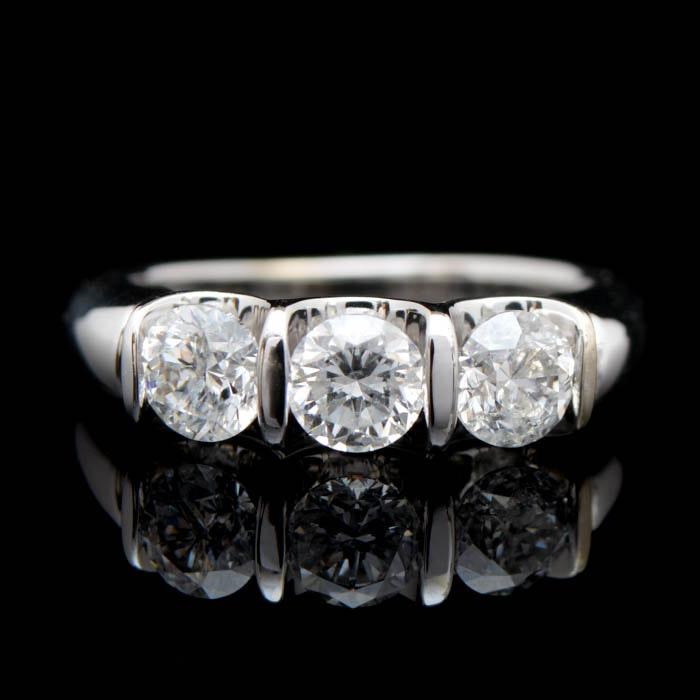 0.78 CTW Three Stone Diamond and 14K White Gold Engagement Ring
