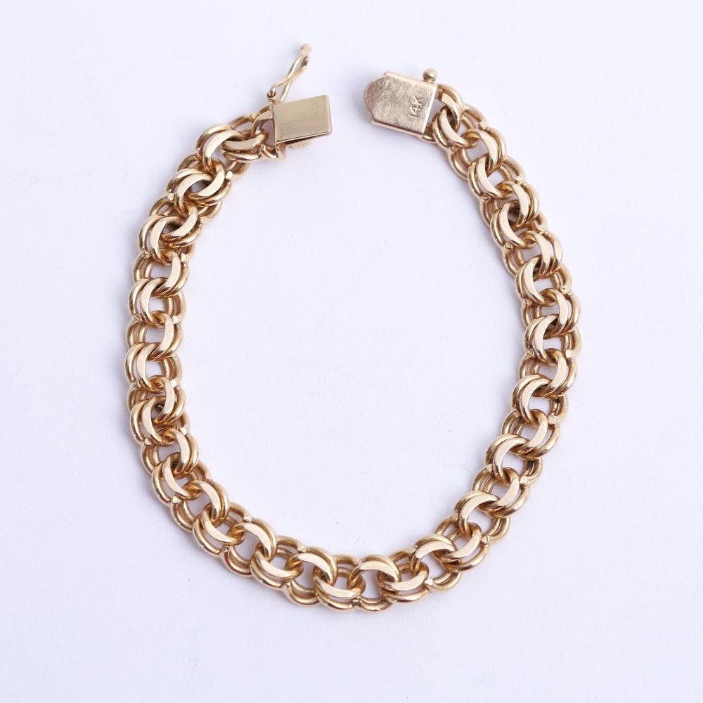 14K Gold Beveled Spiral Curb Link Bracelet