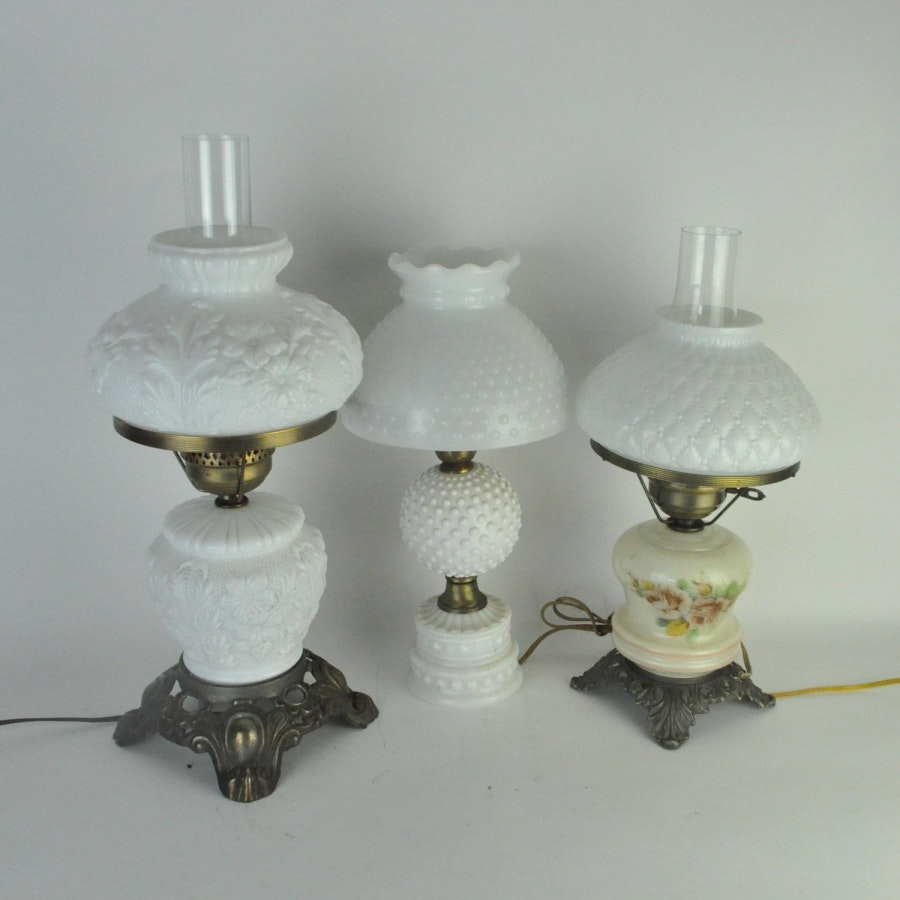 Converted Oil Lamps with Milk Glass Shades