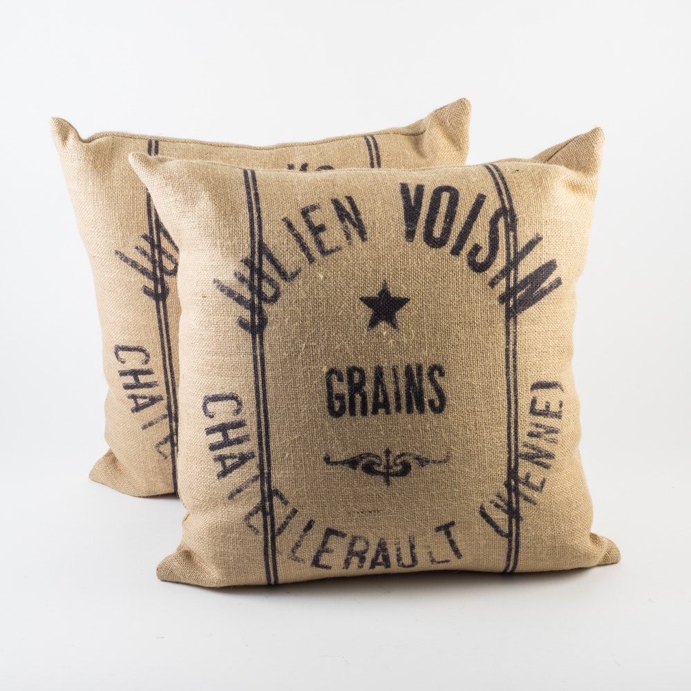 Set of Burlap Throw Pillows