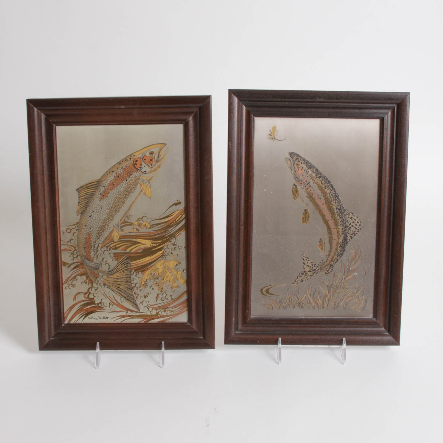 """William Hallett Limited Edition Silver Plate and 24K Gold Etchings """"Leaping Salmon"""" and """"Rainbow Rising"""""""
