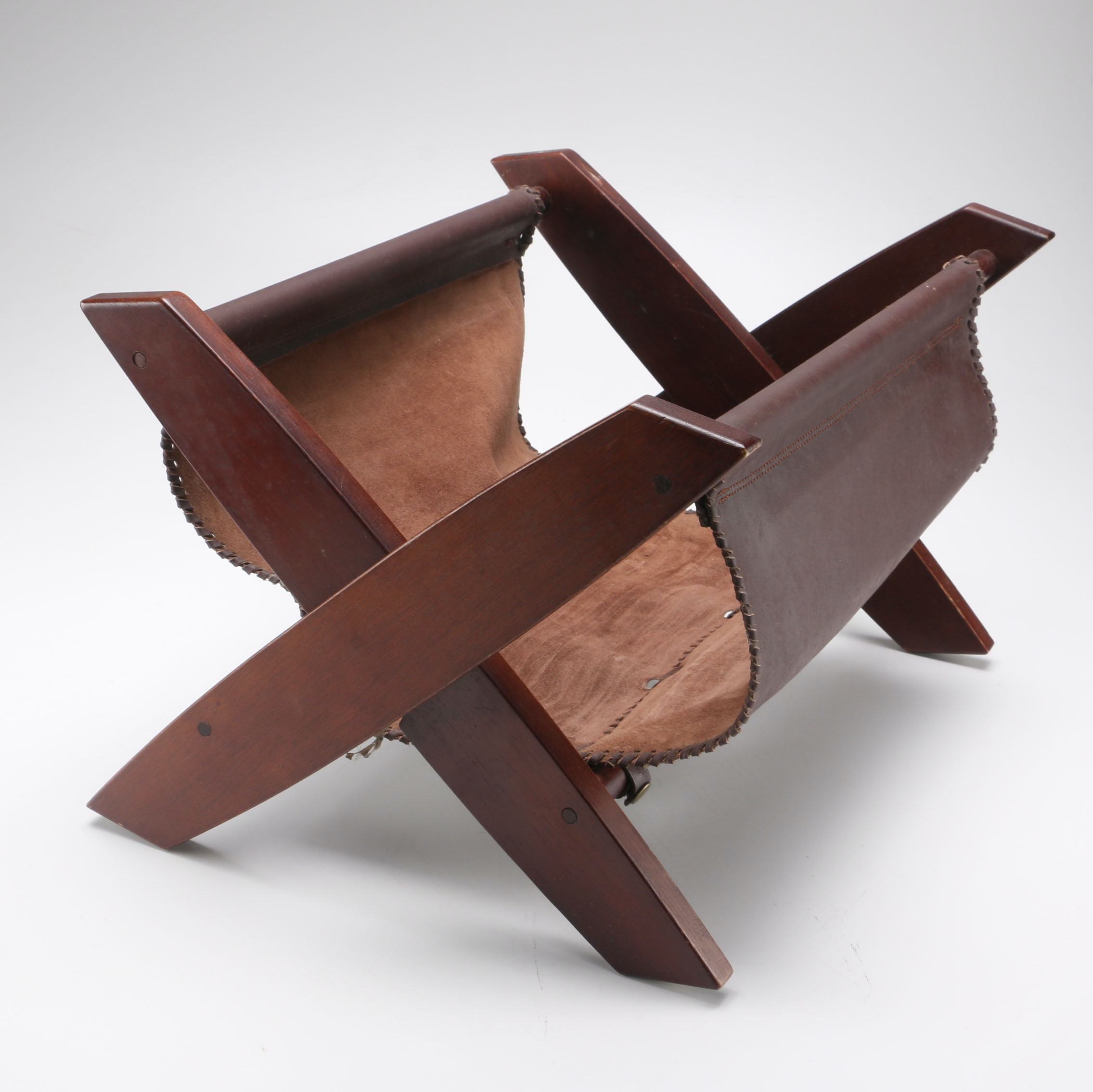 Leather and Wood Magazine Rack