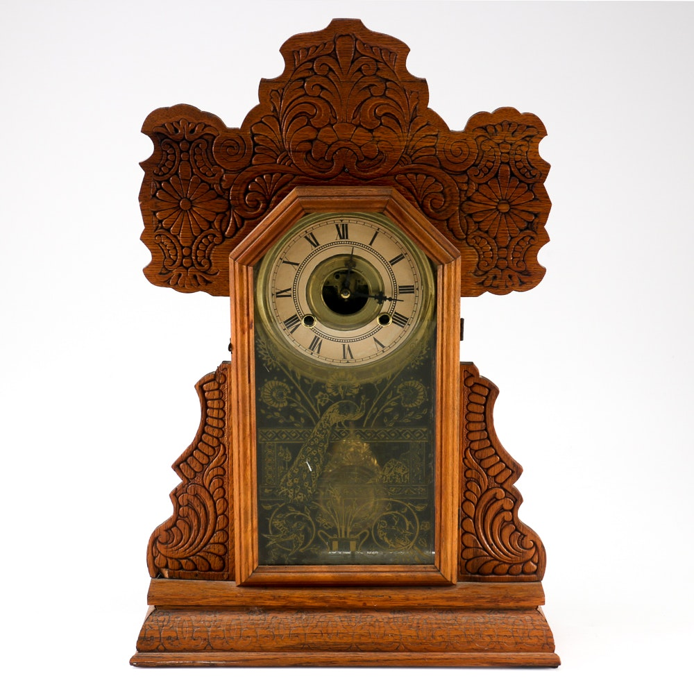 Tabletop Grandfather Clock With Peacock And Songbird Motifs ...