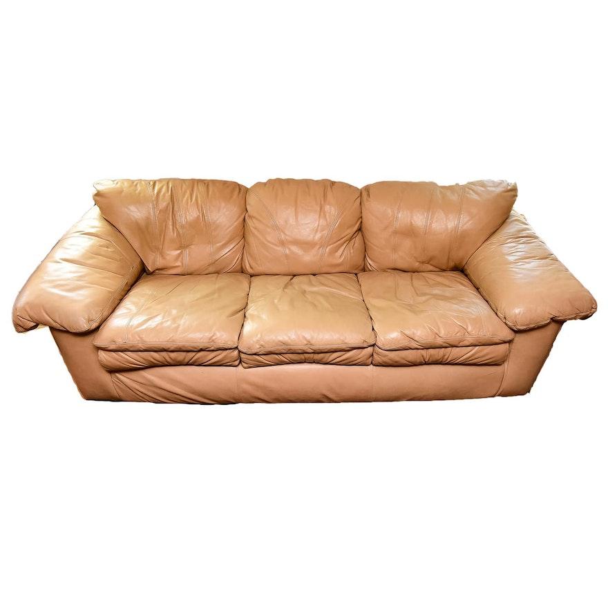 Overstuffed Leather Sofa Ebth