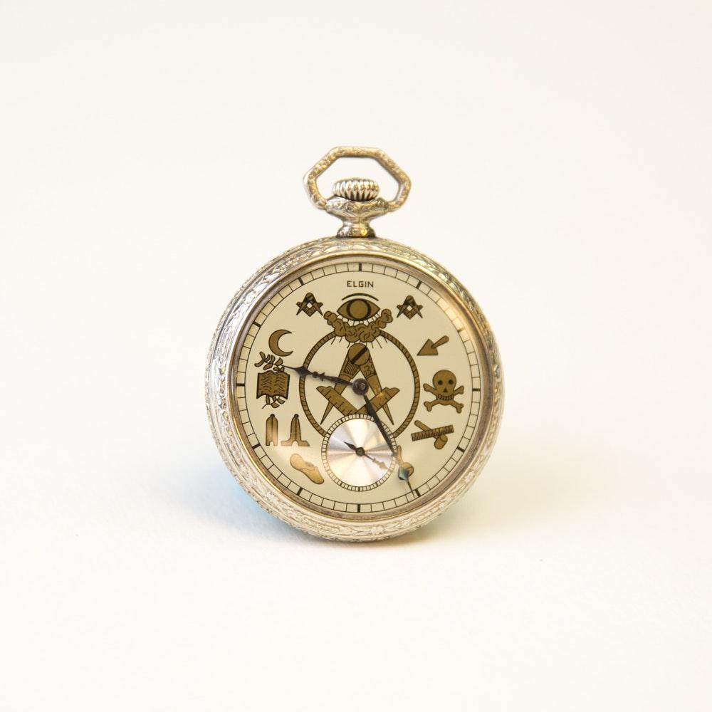 Vintage Elgin Silver Tone Masonic Pocket Watch
