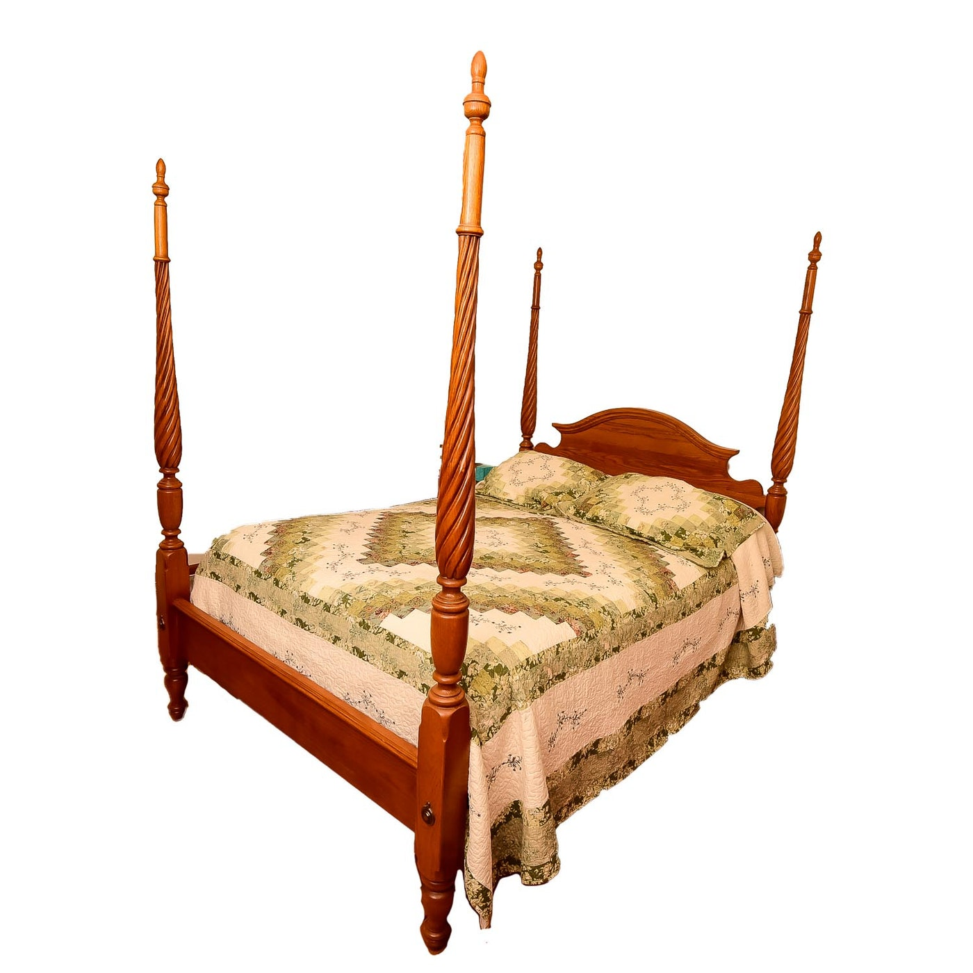 Oak Four Poster Queen Size Bed Frame Ebth