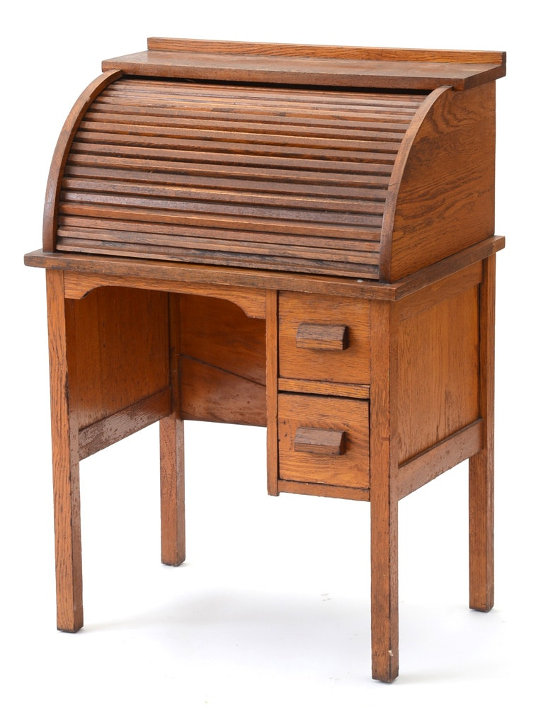 Antique Oak Child S Roll Top Desk And Chair Ebth
