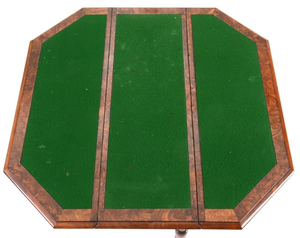 Vintage Birdseye Maple Drop Leaf Gaming Table Ebth