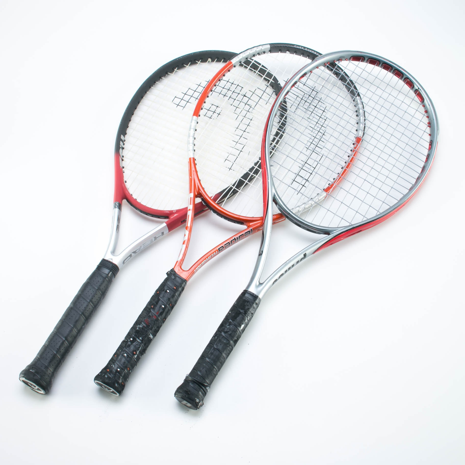 Tennis Rackets, Head Liquidmetal Radical, Head TI S2, and Prince O3 Speedport Red