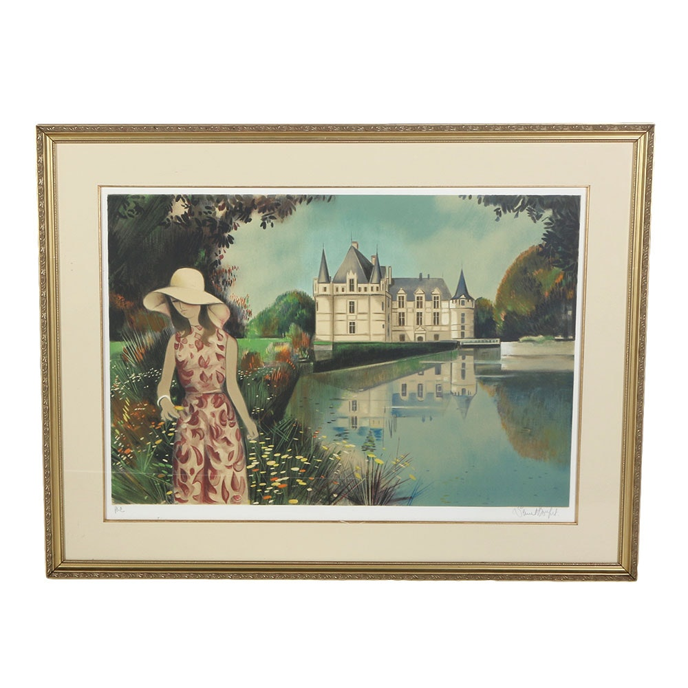 Signed Artist Copy Lithograph of a French Château