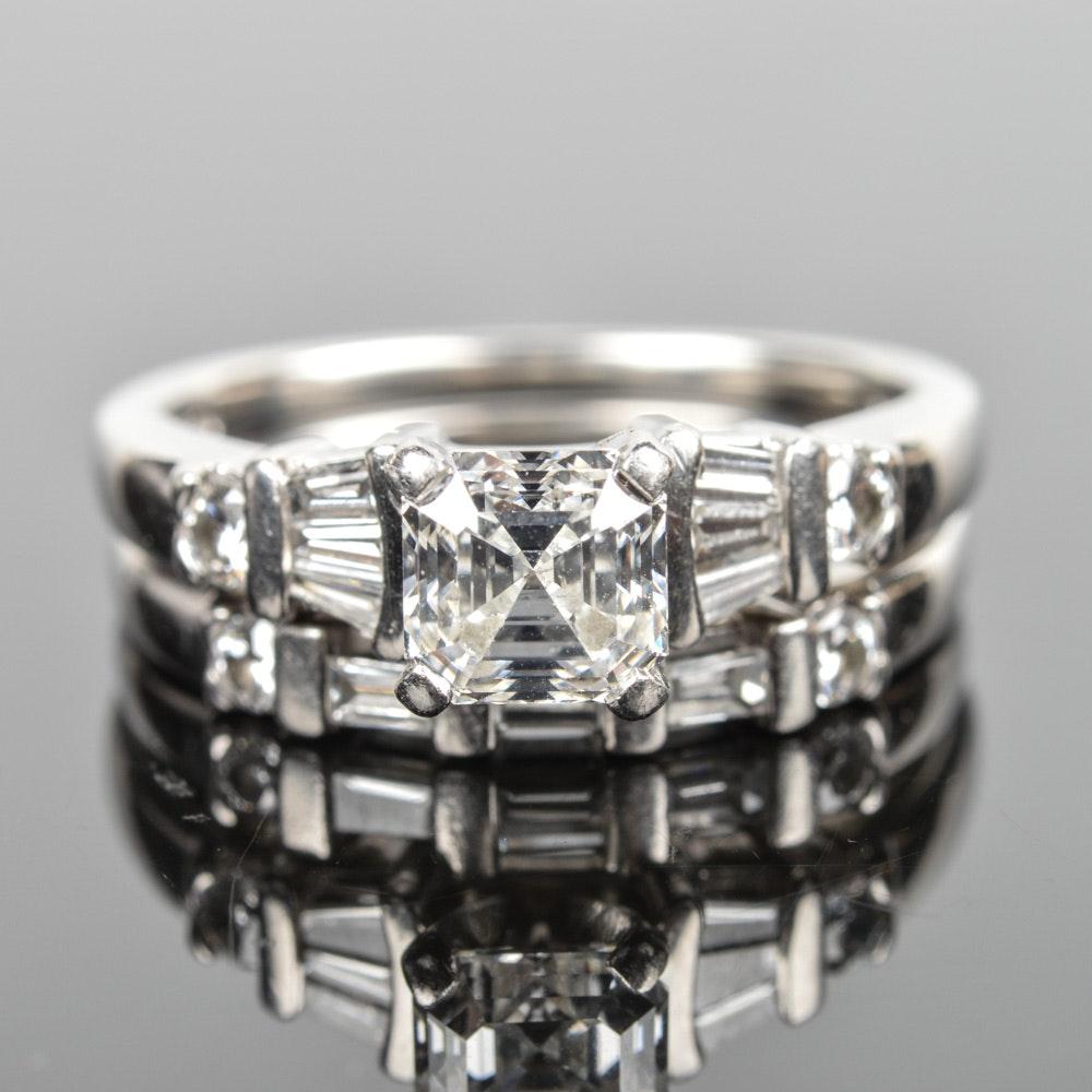 Platinum 1.52 CTW Diamond GIA Certified Wedding Set