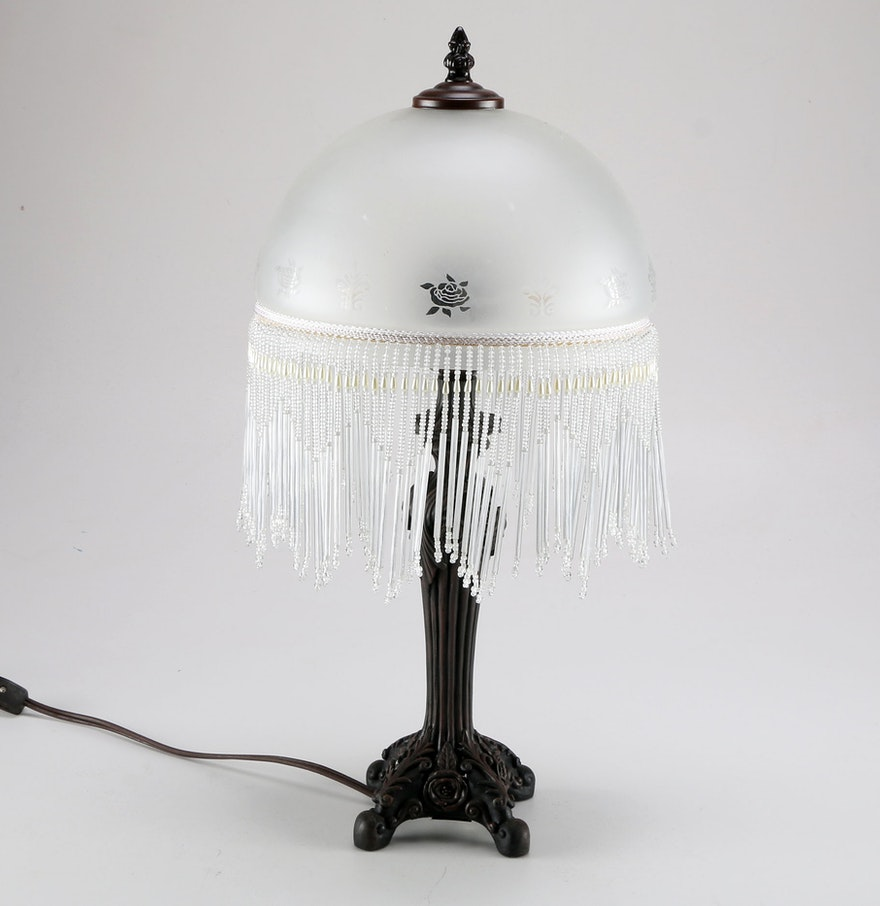 Cheyenne Table Lamp With Victorian Style Glass Shade EBTH