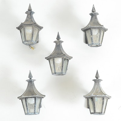 Vintage outdoor lighting used exterior lighting fixtures in art set of five hanover outdoor wall mounted sconce lights aloadofball Images