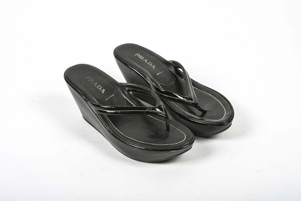 37 Prada Platform Flip Flops Women's Black Patent Size Leather 5 3R5AL4j