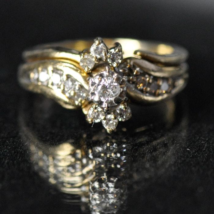 10K Yellow Gold and Diamond Wedding Set