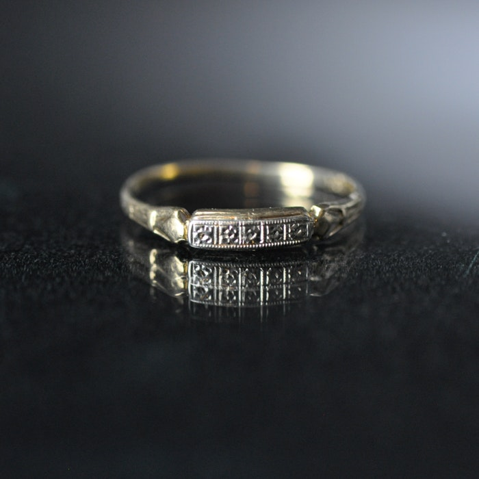 10K Yellow and White Gold Wedding Band