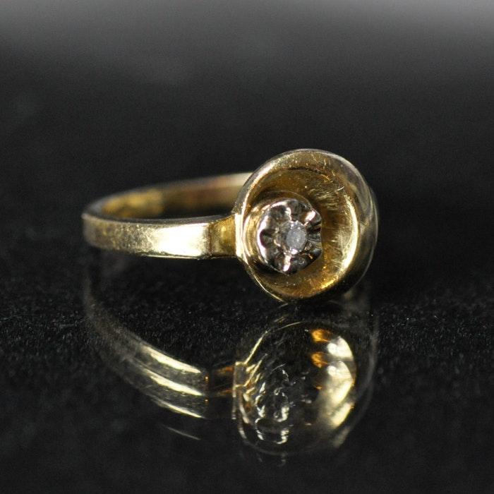 14K Yellow Gold Illusion Mounted Diamond Ring