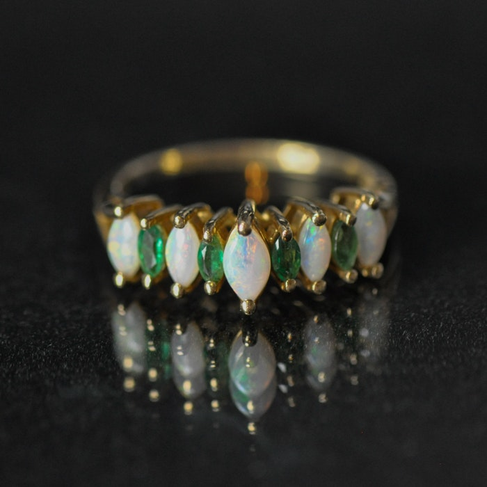 14K Yellow Gold Genuine Emerald and Opal Ring