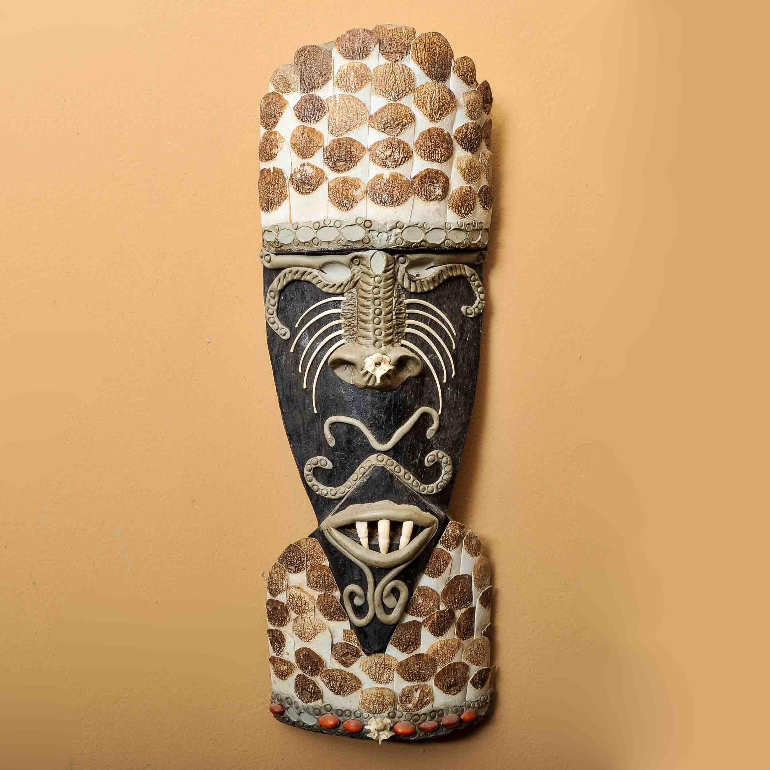 Wood, Shell, and Clay African Shoulder Mask