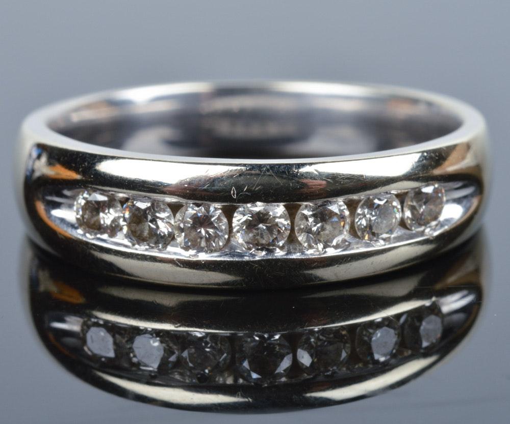 14K Solid White Gold 0.75 CTW Diamond Men's Wedding Band