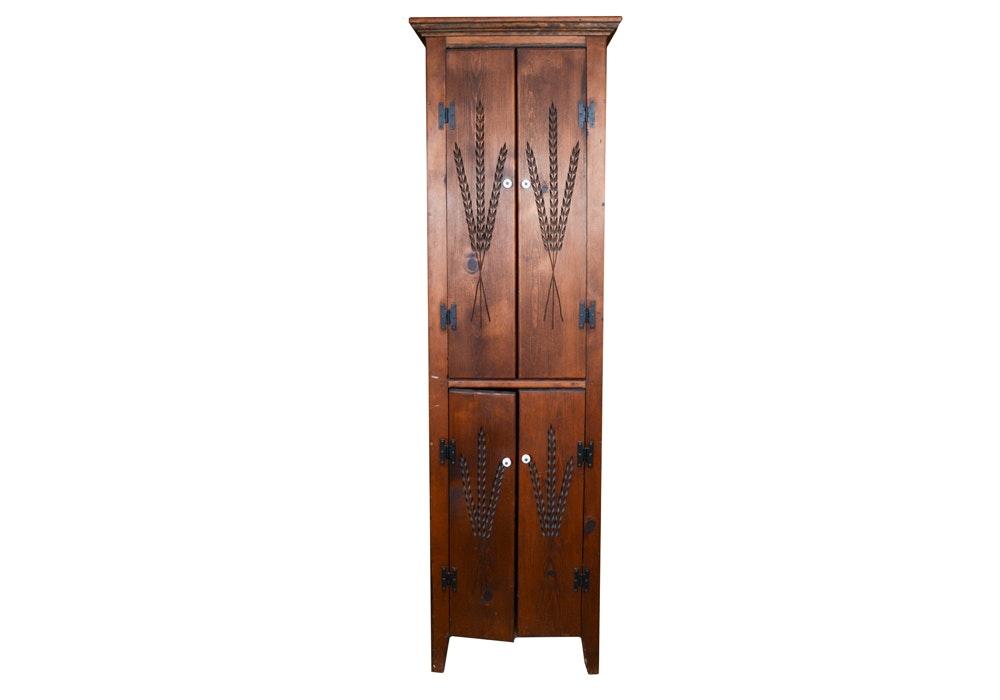 Dark Stained Pine Kitchen Cupboard