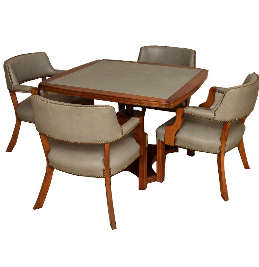 Leather Table Chairs: Leather Top Game Table And Chairs : EBTH