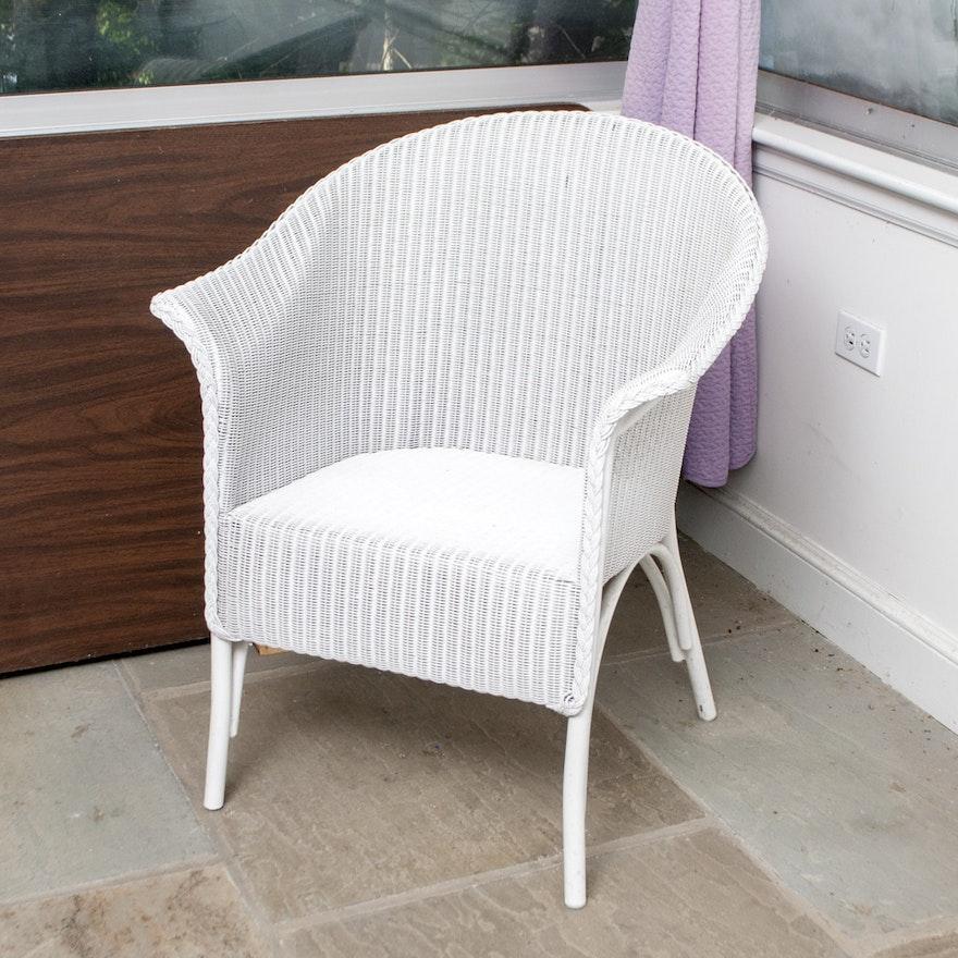 white wicker club chair ebth