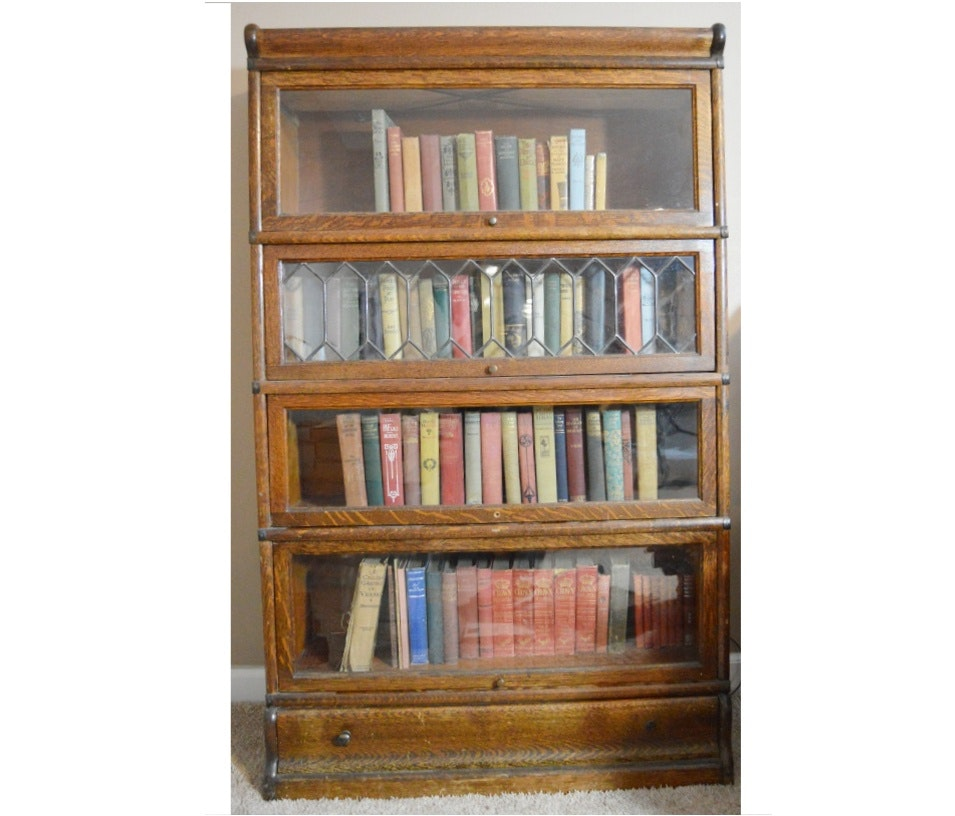 Antique Globe-Wernicke Barrister Bookcase with Leaded Glass Door : EBTH