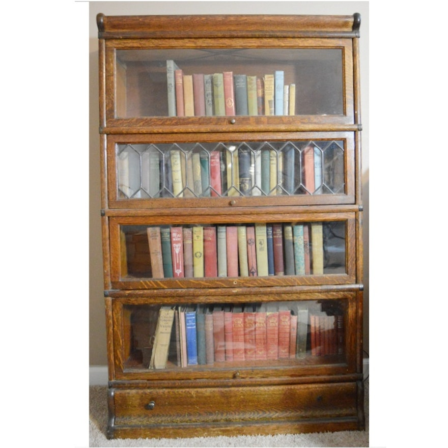 Antique Globe Wernicke Barrister Bookcase With Leaded Glass Door Ebth