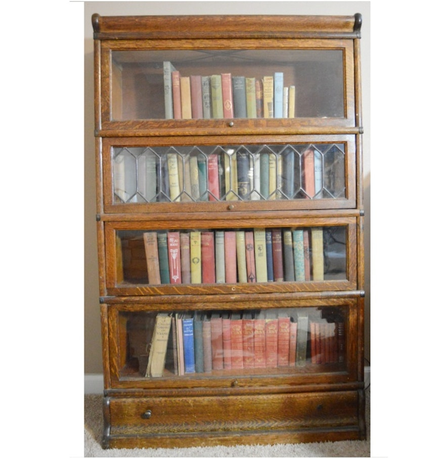Antique Globe Wernicke Barrister Bookcase With Leaded