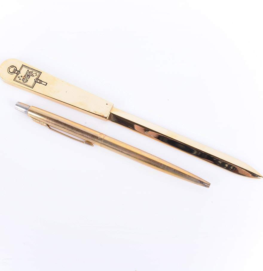 parker gold plated pen and letter opener