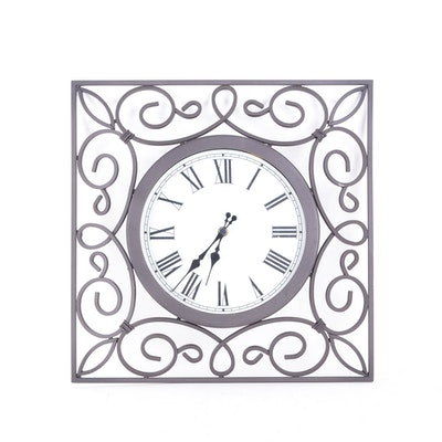 Black Wrought Iron Sterling And Noble Wall Clock Ebth
