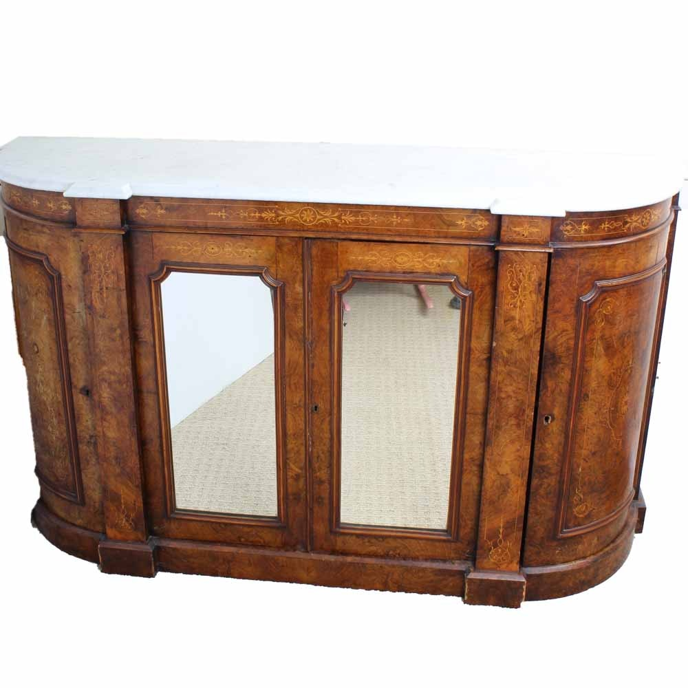 Antique Marble Top Sideboard with Burled Cherry Veneers and Rosewood Inlay