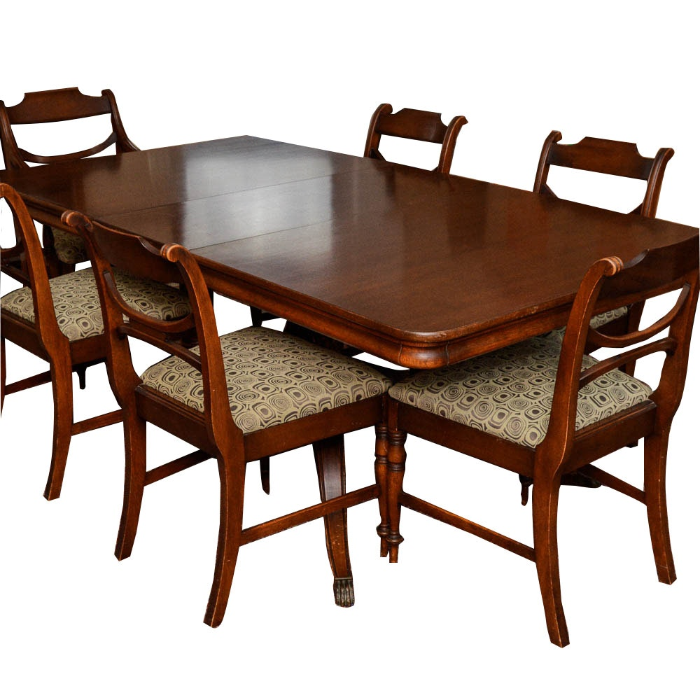Mahogany Regency Style Dining Table And Chairs By Dexter
