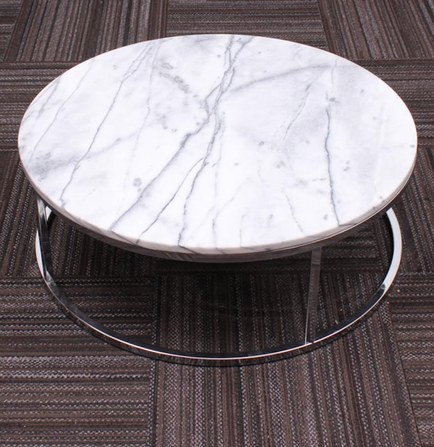 Rubik Round Marble Top Coffee Table Ebth