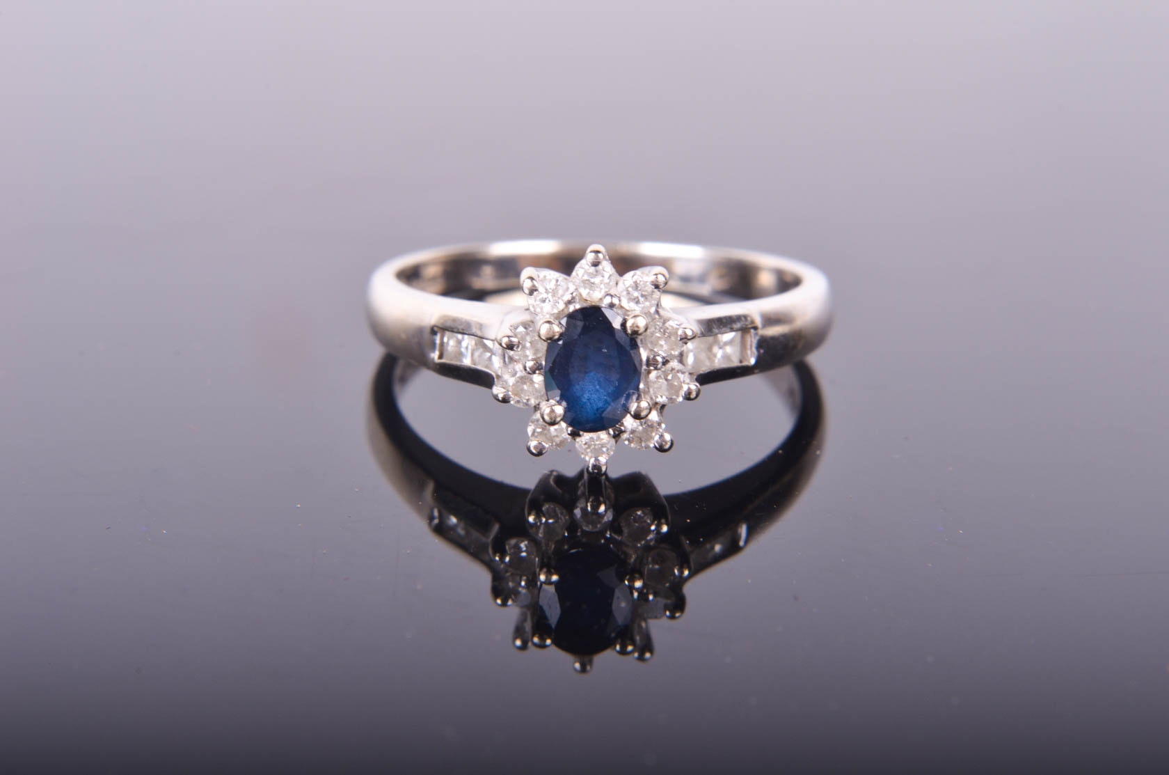 10K White Gold , Sapphire and Diamond Ring