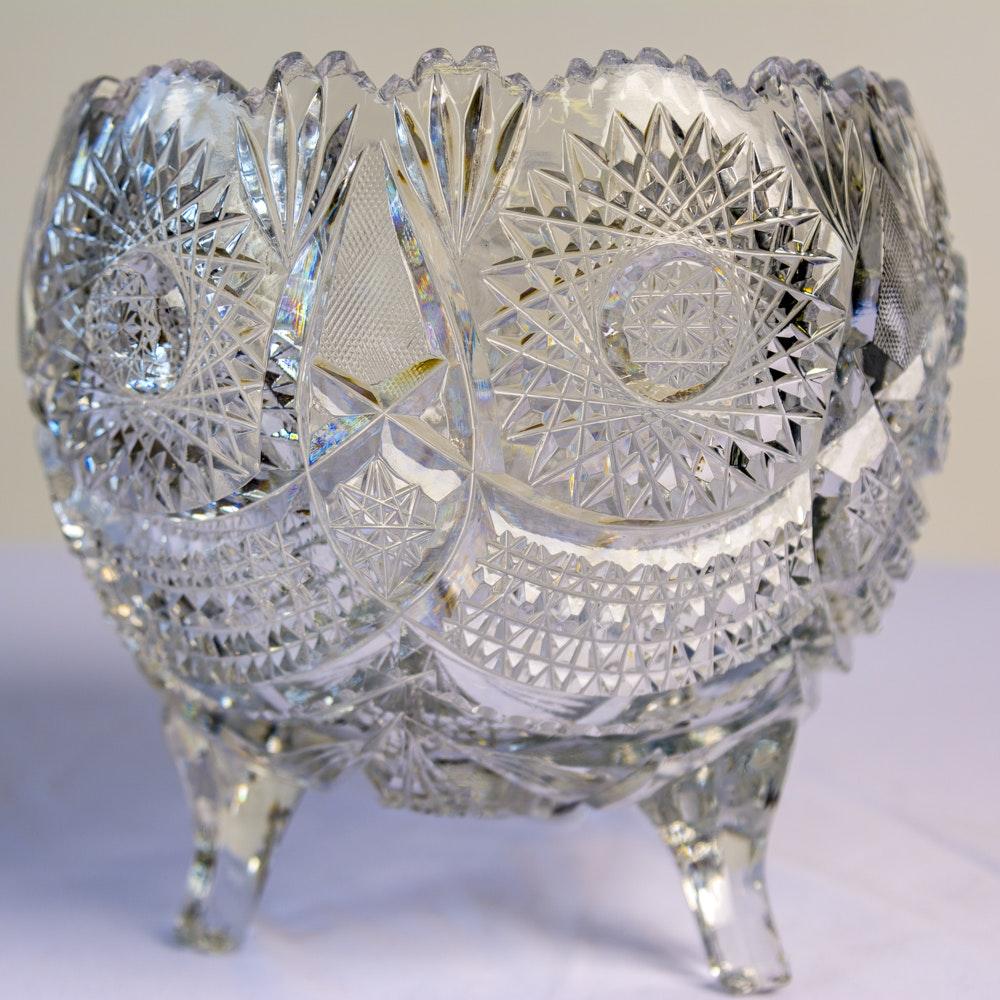 Brilliant Cut Glass Footed Dish