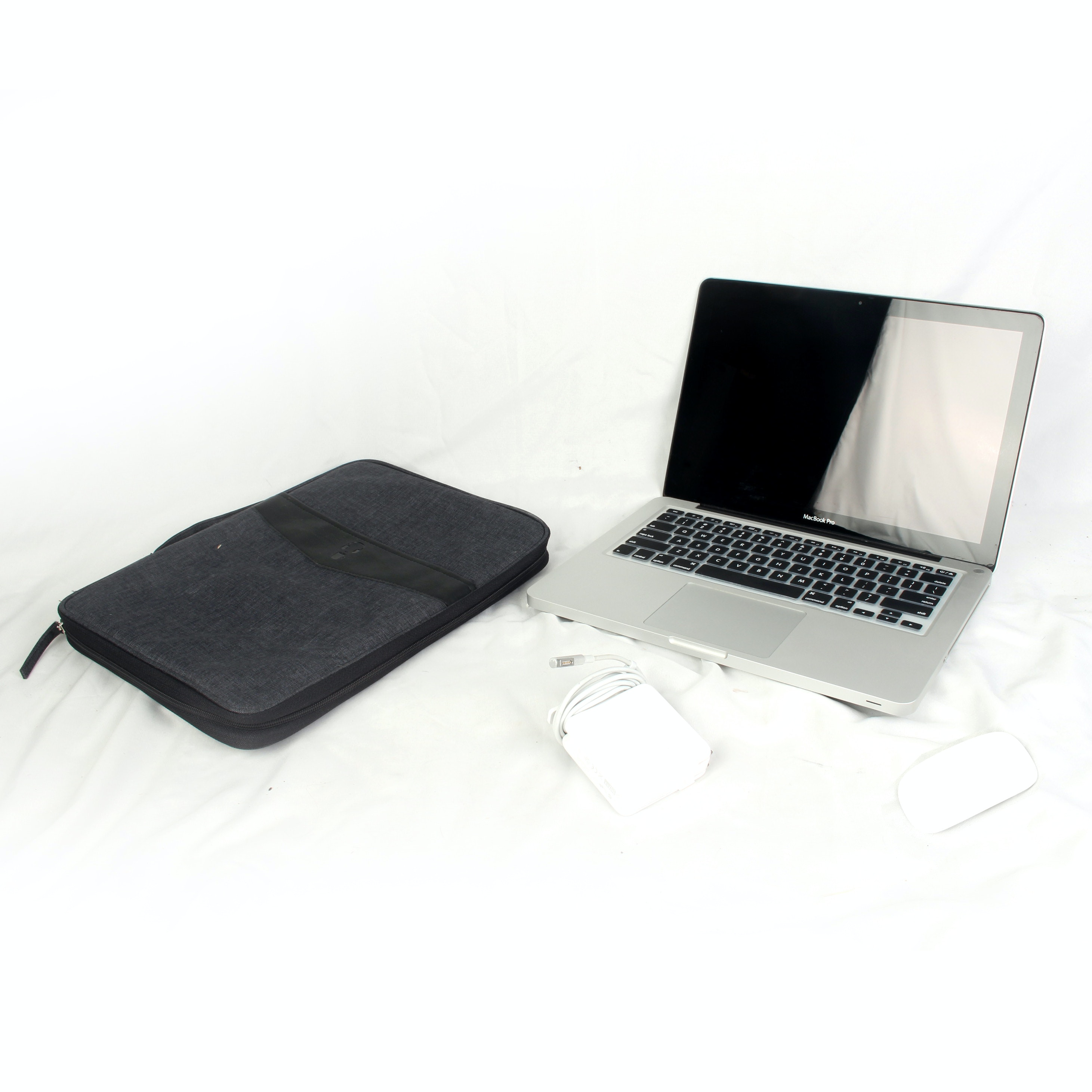 MacBook Pro Laptop, Apple Mouse and Laptop Case