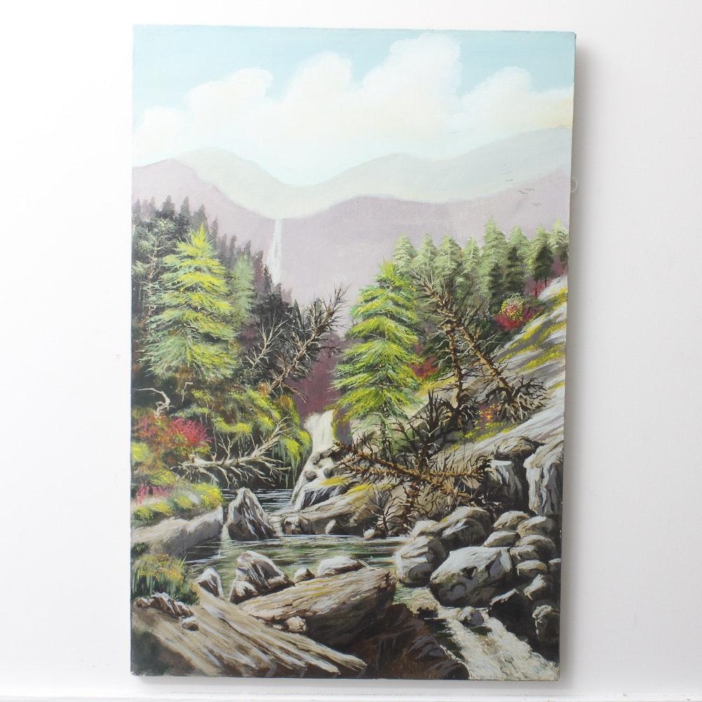 Original Jon Haber Acrylic on Canvas Landscape