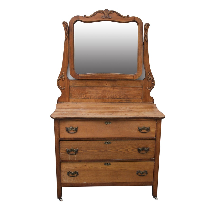 Antique Oak Dresser With Swivel Mirror Ebth