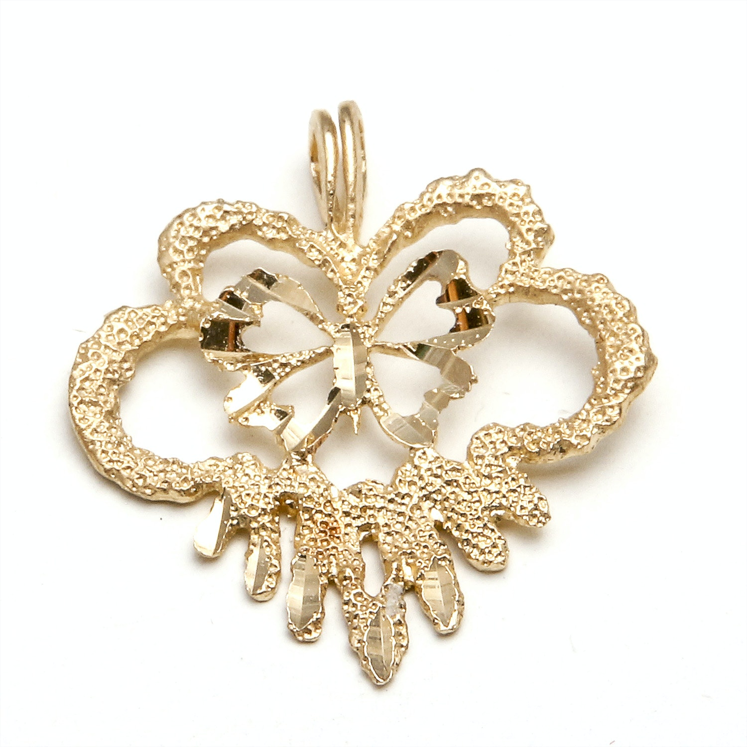 14K Yellow Gold Butterfly Pendant