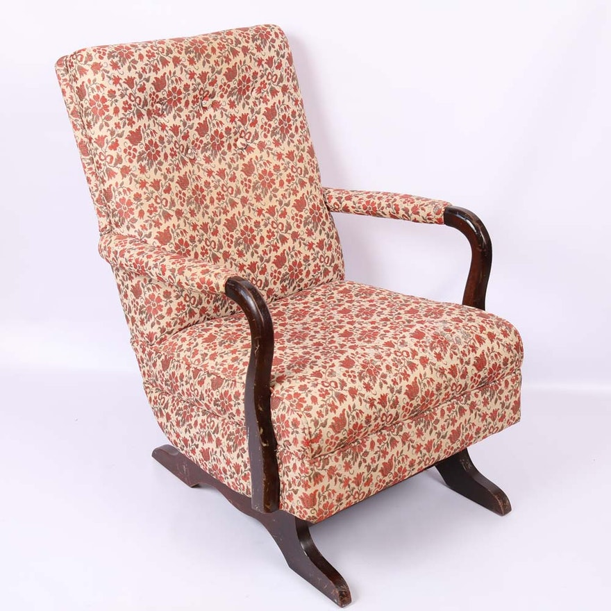 vintage upholstered rocking chair ebth. Black Bedroom Furniture Sets. Home Design Ideas