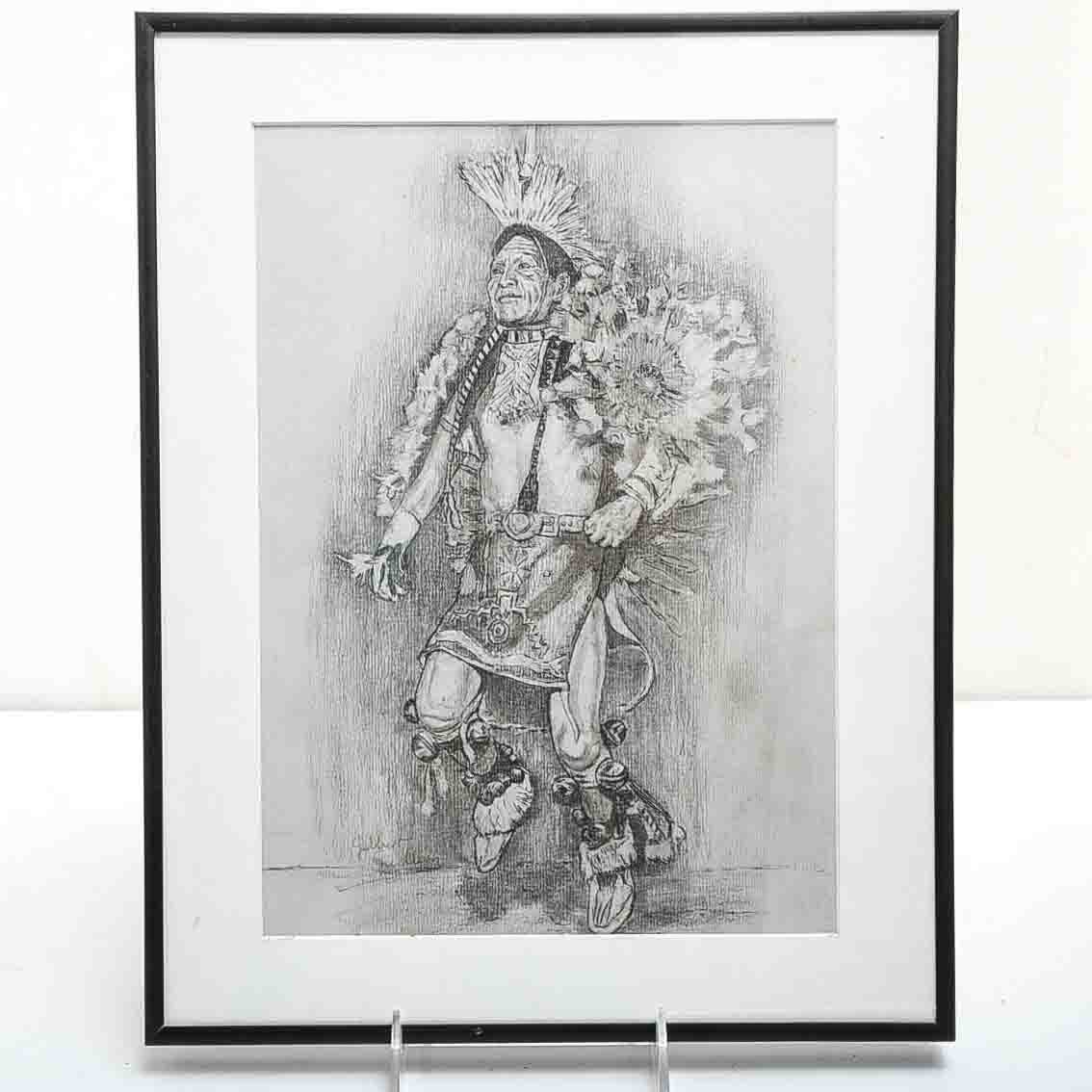 Native American Dancer Drawing by Gilbert Guillery