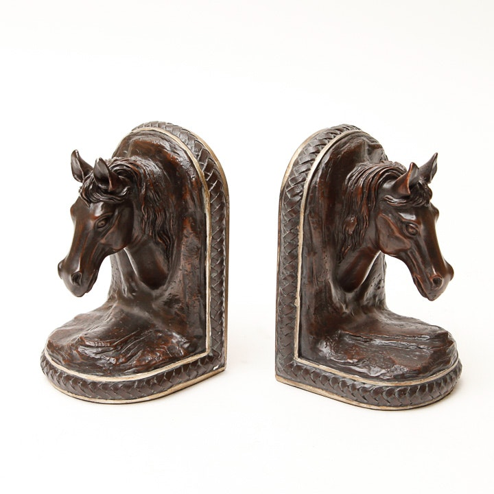 Carved Wood Equestrian Bookends
