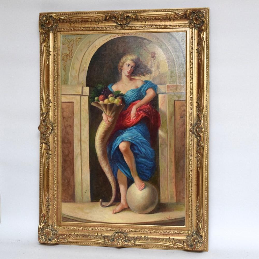 W. Thurston Original Figural Oil on Canvas