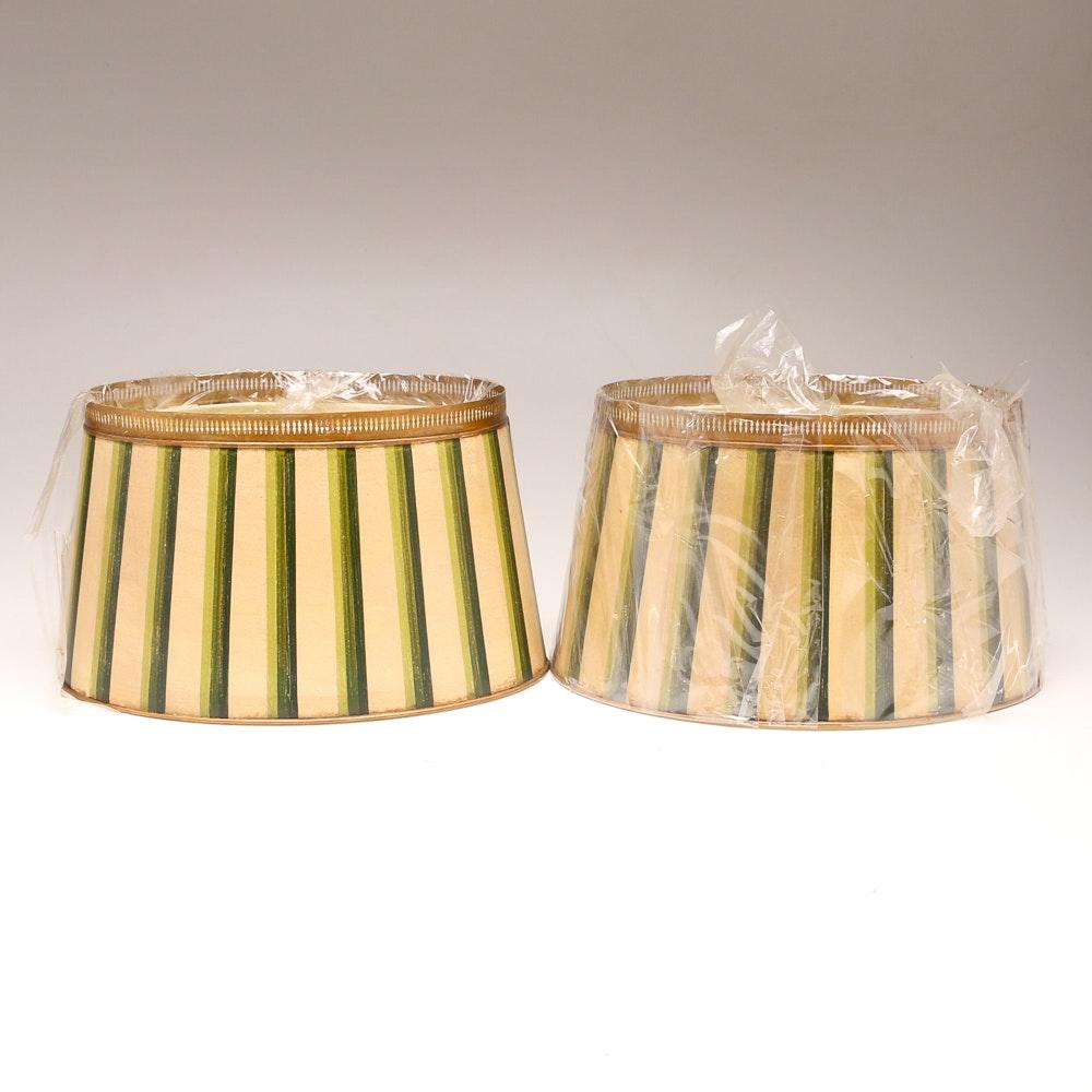 Pair of Striped Drum Lampshades