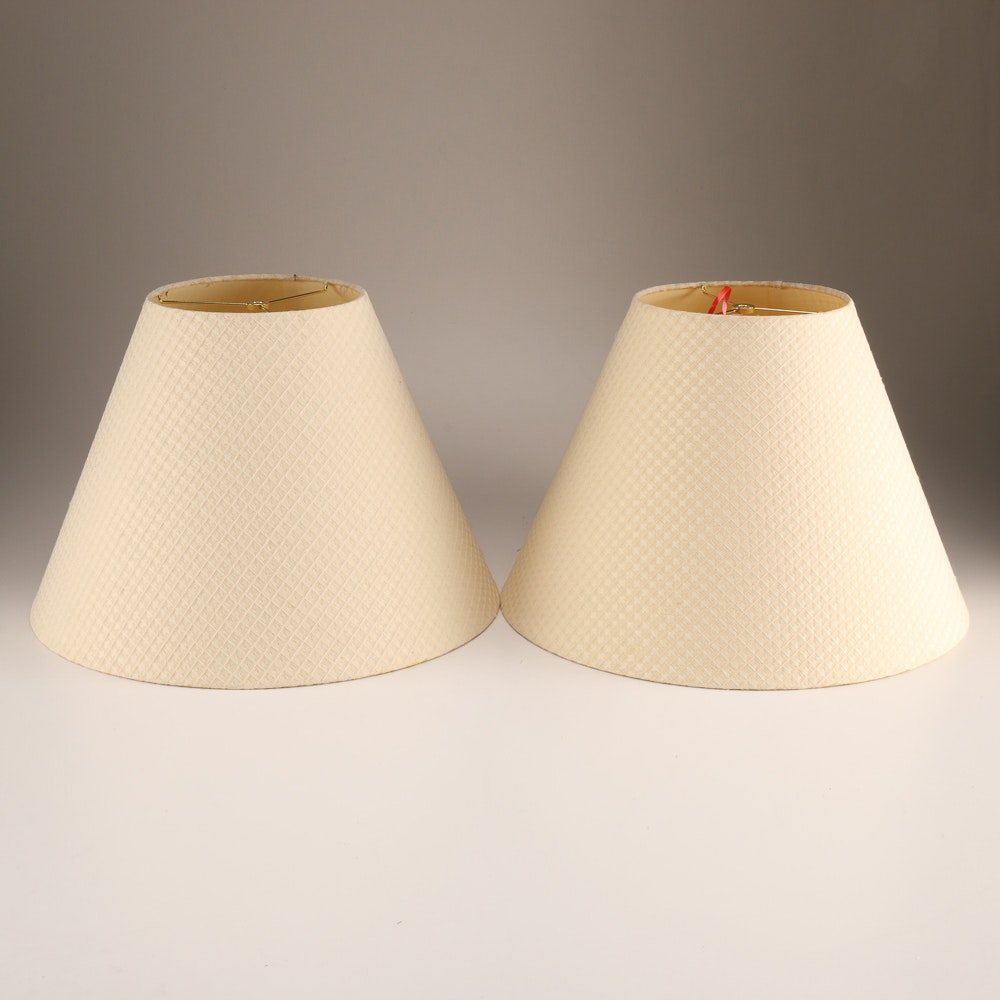Pair of Large White Lampshades